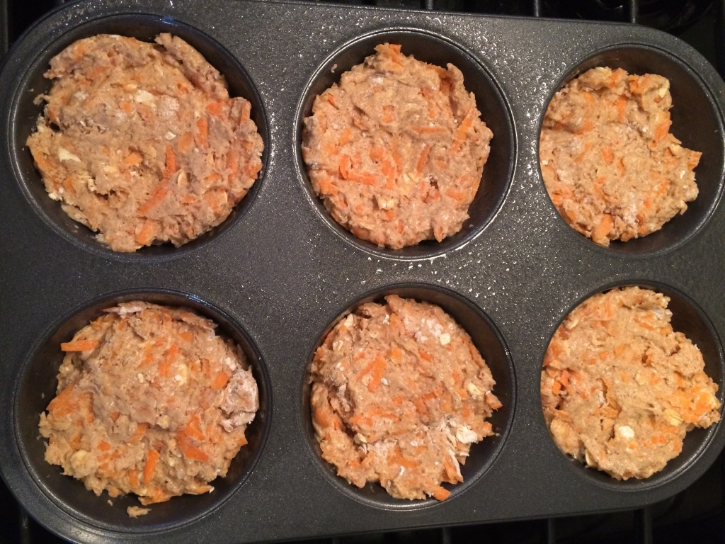 Spoon into muffin tin and into the oven!